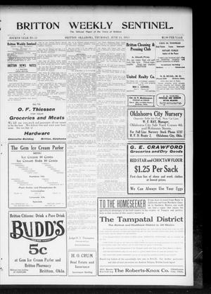 Primary view of object titled 'Britton Weekly Sentinel. (Britton, Okla.), Vol. 4, No. 21, Ed. 1 Thursday, June 15, 1911'.