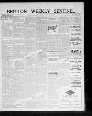 Primary view of object titled 'Britton Weekly Sentinel (Britton, Okla.), Vol. 4, No. 51, Ed. 1 Thursday, January 11, 1912'.