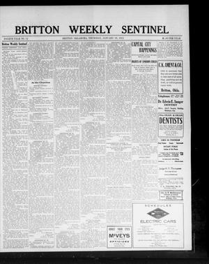 Primary view of object titled 'Britton Weekly Sentinel (Britton, Okla.), Vol. 4, No. 52, Ed. 1 Thursday, January 18, 1912'.