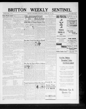 Primary view of object titled 'Britton Weekly Sentinel (Britton, Okla.), Vol. 5, No. 6, Ed. 1 Thursday, February 29, 1912'.