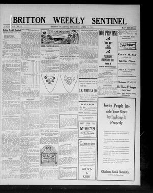 Primary view of object titled 'Britton Weekly Sentinel (Britton, Okla.), Vol. 5, No. 12, Ed. 1 Thursday, April 11, 1912'.