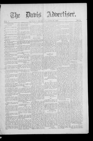 Primary view of object titled 'The Davis Advertiser. (Davis, Indian Terr.), Vol. 1, No. 51, Ed. 1 Thursday, April 25, 1895'.