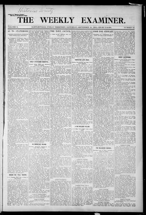 Primary view of object titled 'The Weekly Examiner. (Bartlesville, Indian Terr.), Vol. 10, No. 29, Ed. 1 Saturday, September 24, 1904'.