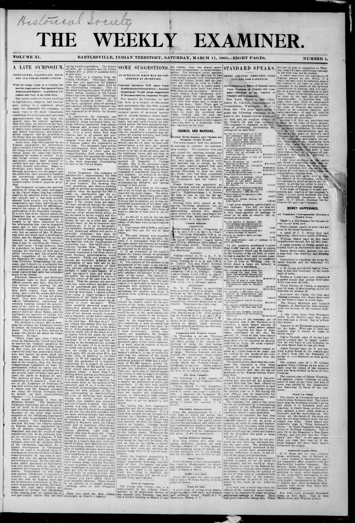 The Weekly Examiner. (Bartlesville, Indian Terr.), Vol. 11, No. 1, Ed. 1 Saturday, March 11, 1905                                                                                                      [Sequence #]: 1 of 8