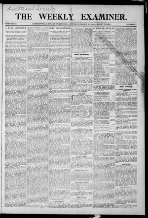 Primary view of object titled 'The Weekly Examiner. (Bartlesville, Indian Terr.), Vol. 11, No. 1, Ed. 1 Saturday, March 11, 1905'.