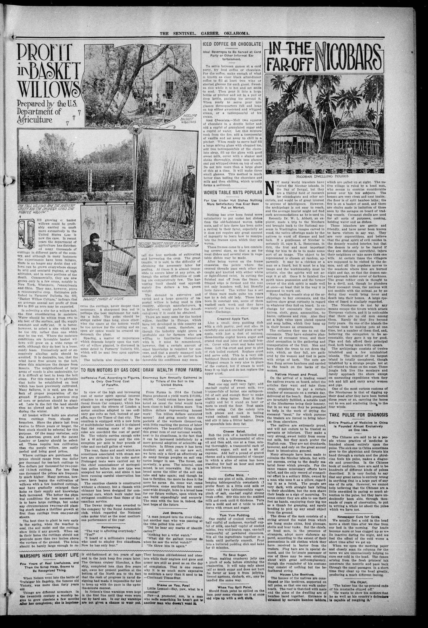 Garber Sentinel. (Garber, Okla.), Vol. 16, No. 23, Ed. 1 Thursday, March 11, 1915                                                                                                      [Sequence #]: 3 of 8