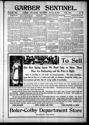 Primary view of object titled 'Garber Sentinel. (Garber, Okla.), Vol. 21, No. 20, Ed. 1 Thursday, February 12, 1920'.