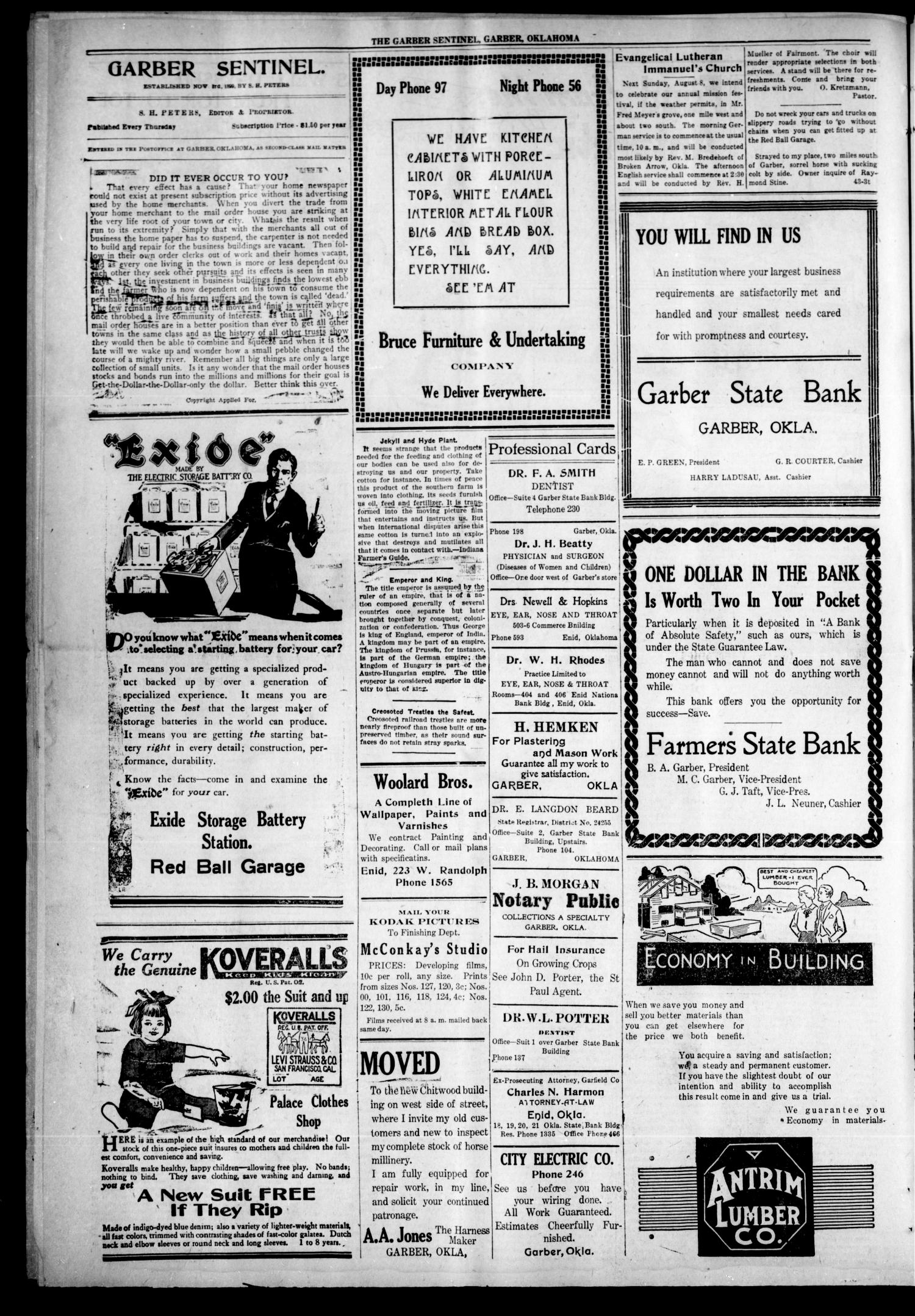 Garber Sentinel. (Garber, Okla.), Vol. 21, No. 45, Ed. 1 Thursday, August 5, 1920                                                                                                      [Sequence #]: 4 of 8