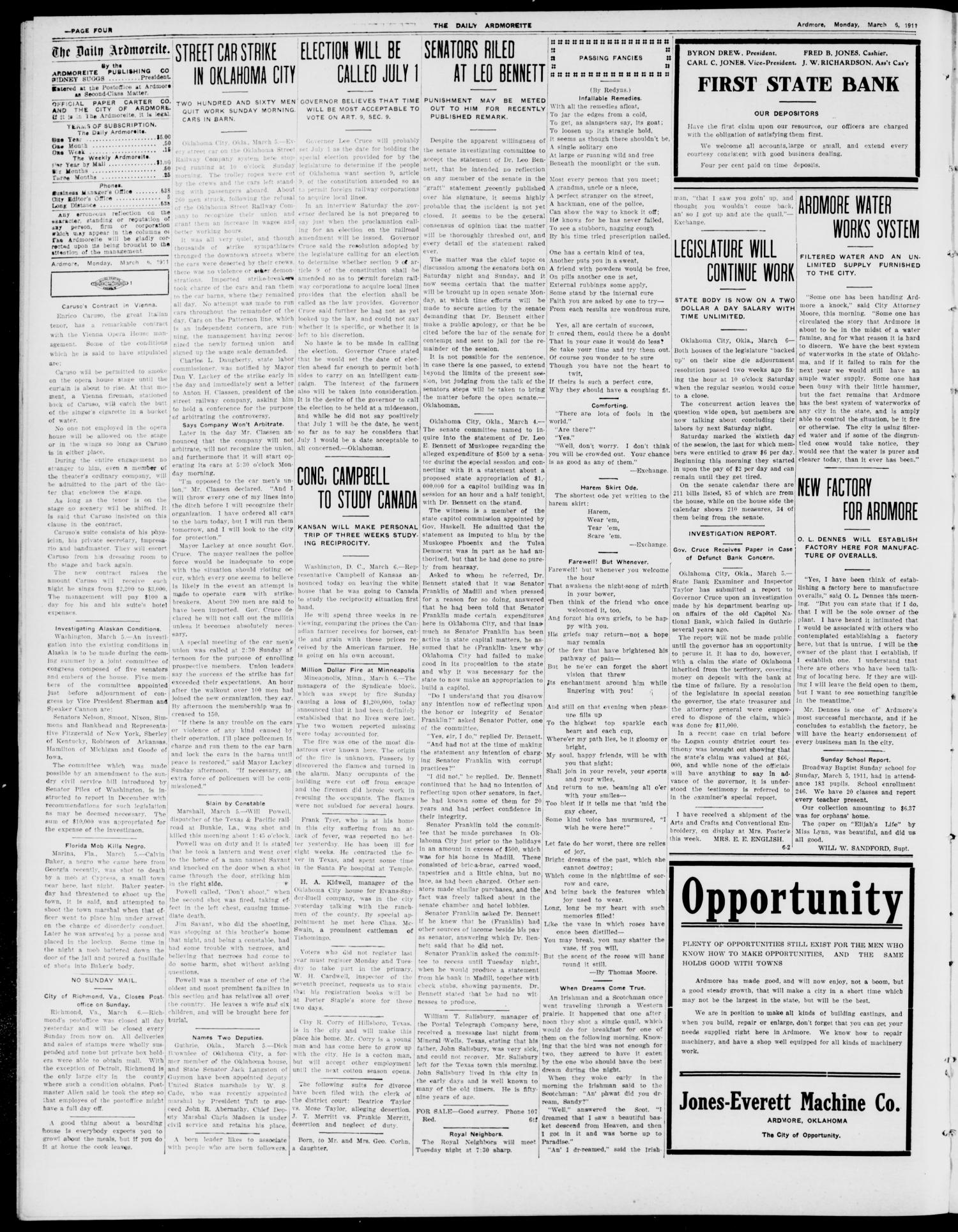The Daily Ardmoreite. (Ardmore, Okla.), Vol. 17, No. 131, Ed. 1 Monday, March 6, 1911                                                                                                      [Sequence #]: 4 of 8
