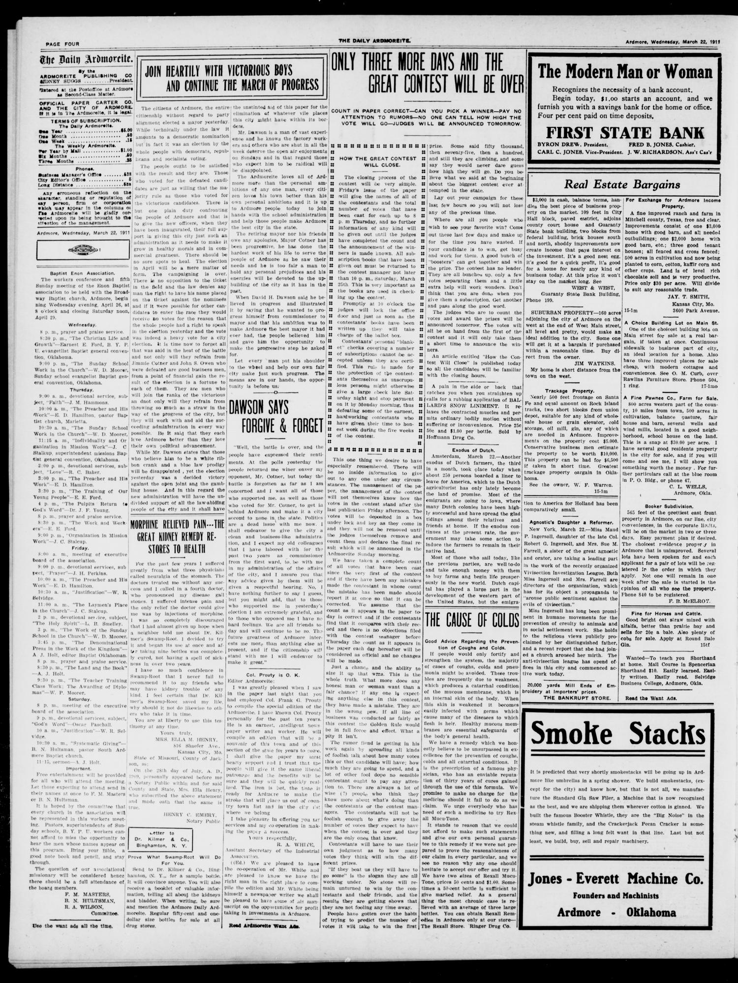 The Daily Ardmoreite. (Ardmore, Okla.), Vol. 17, No. 145, Ed. 1 Wednesday, March 22, 1911                                                                                                      [Sequence #]: 4 of 8