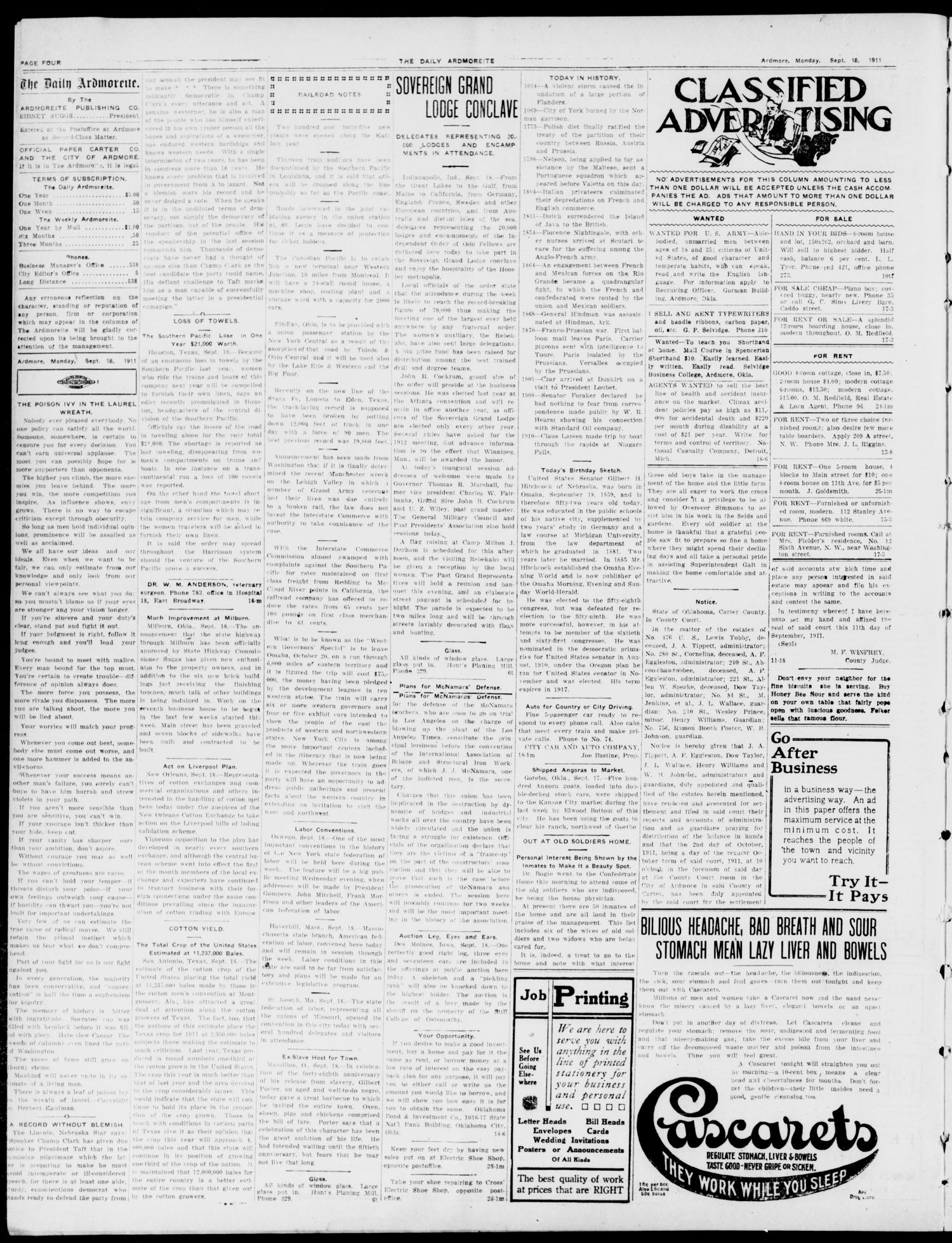 The Daily Ardmoreite. (Ardmore, Okla.), Vol. 17, No. 297, Ed. 1 Monday, September 18, 1911                                                                                                      [Sequence #]: 4 of 8