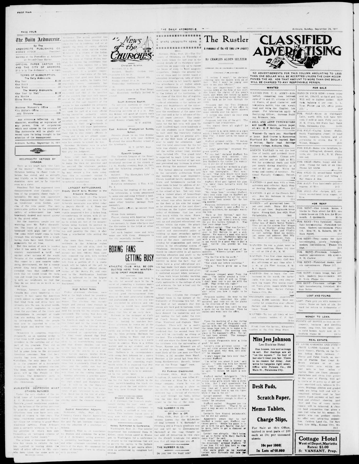 The Daily Ardmoreite. (Ardmore, Okla.), Vol. 17, No. 302, Ed. 1 Sunday, September 24, 1911                                                                                                      [Sequence #]: 4 of 8