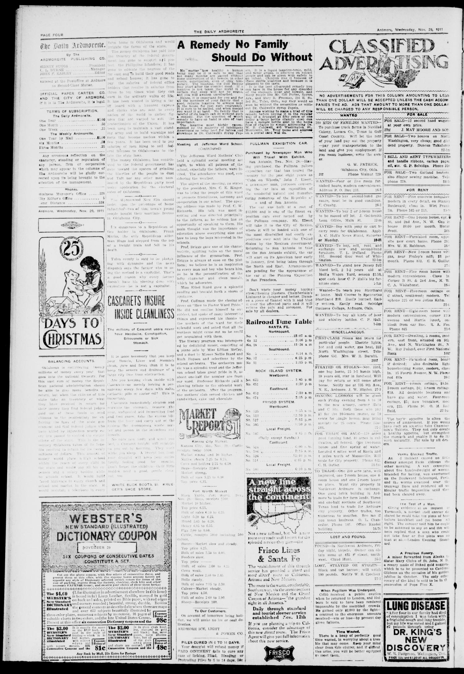 The Daily Ardmoreite. (Ardmore, Okla.), Vol. 18, No. 47, Ed. 1 Wednesday, November 29, 1911                                                                                                      [Sequence #]: 4 of 8
