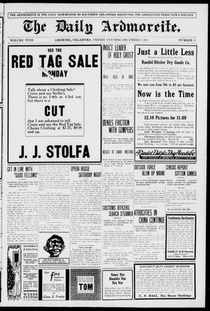 Primary view of The Daily Ardmoreite. (Ardmore, Okla.), Vol. 18, No. 55, Ed. 1 Friday, December 8, 1911