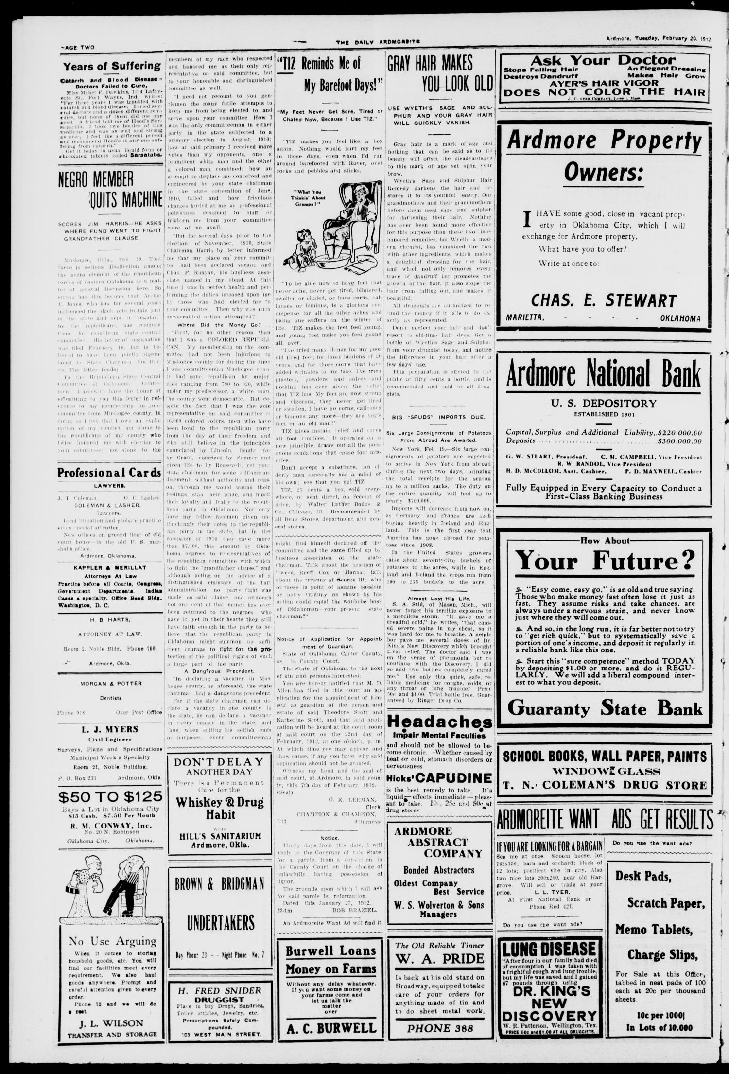 The Daily Ardmoreite. (Ardmore, Okla.), Vol. 18, No. 117, Ed. 1 Tuesday, February 20, 1912                                                                                                      [Sequence #]: 2 of 8