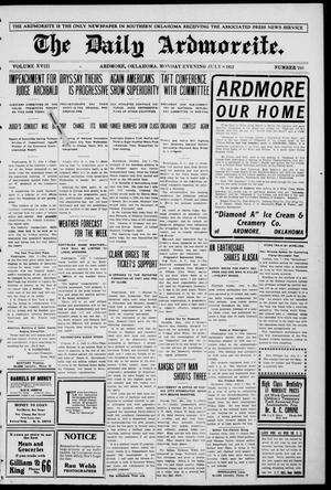 Primary view of object titled 'The Daily Ardmoreite. (Ardmore, Okla.), Vol. 18, No. 245, Ed. 1 Monday, July 8, 1912'.