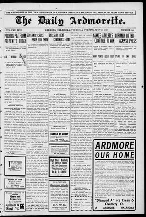 Primary view of object titled 'The Daily Ardmoreite. (Ardmore, Okla.), Vol. 18, No. 248, Ed. 1 Thursday, July 11, 1912'.