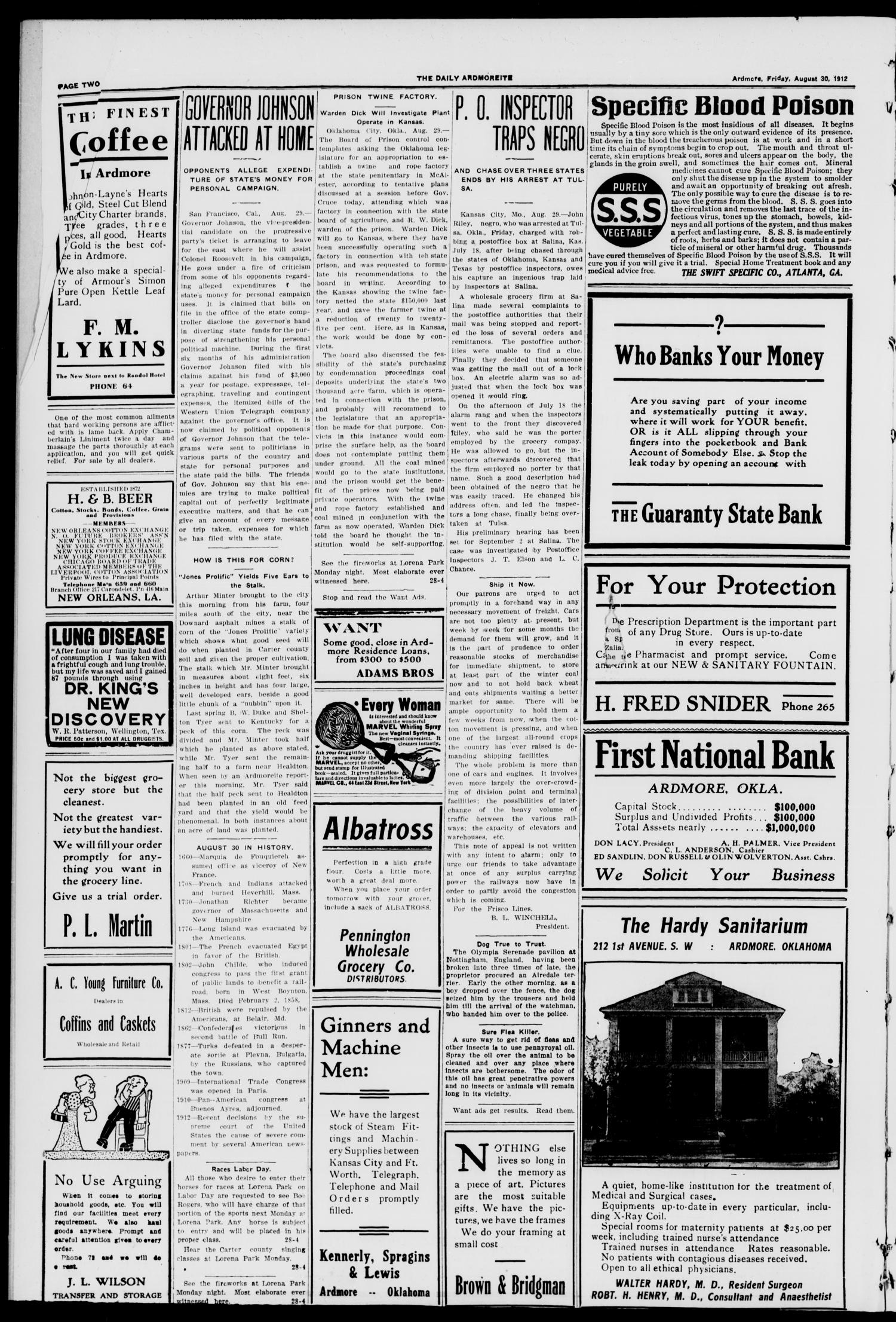 The Daily Ardmoreite. (Ardmore, Okla.), Vol. 18, No. 291, Ed. 1 Friday, August 30, 1912                                                                                                      [Sequence #]: 2 of 8