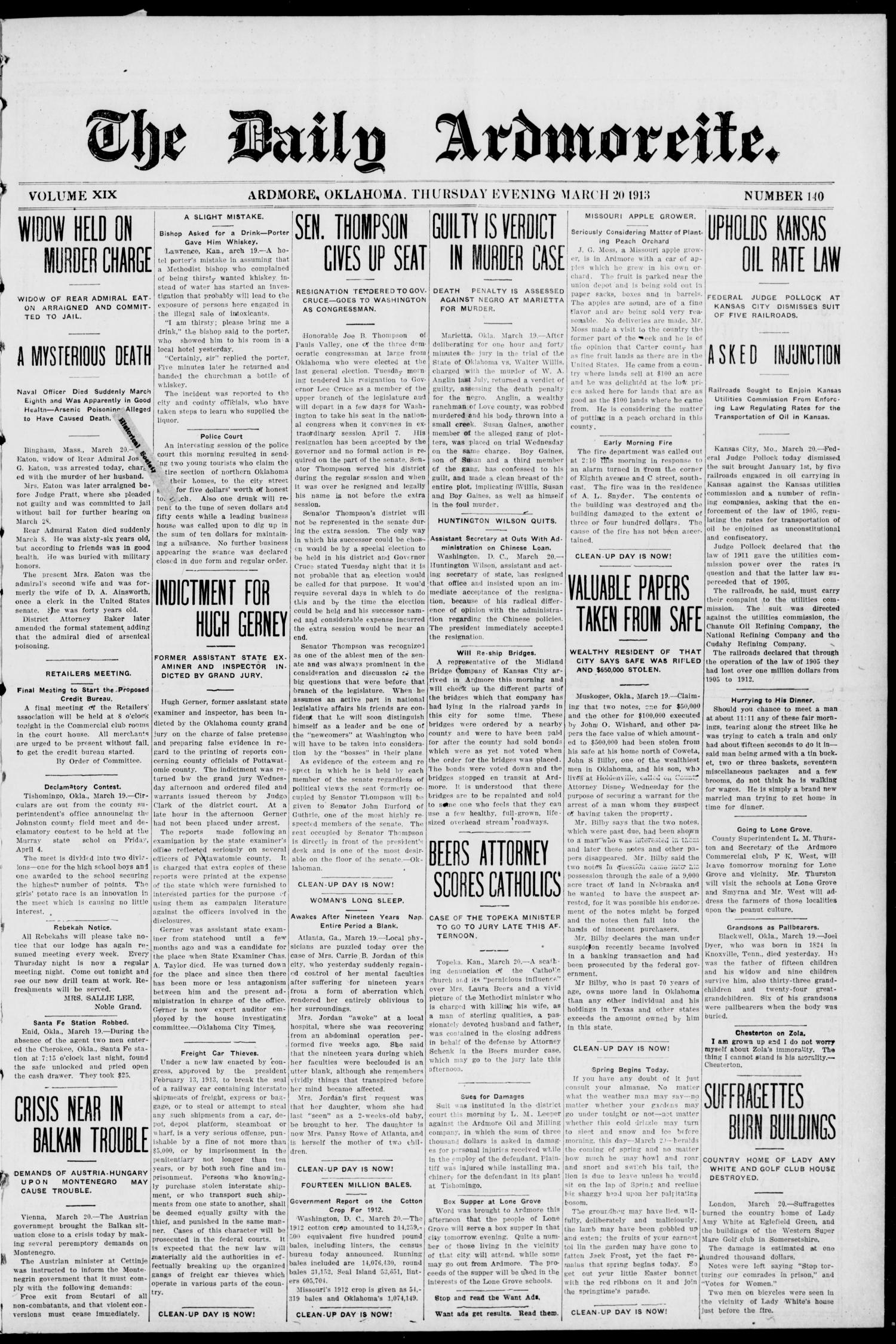 The Daily Ardmoreite. (Ardmore, Okla.), Vol. 19, No. 140, Ed. 1 Thursday, March 20, 1913                                                                                                      [Sequence #]: 1 of 8