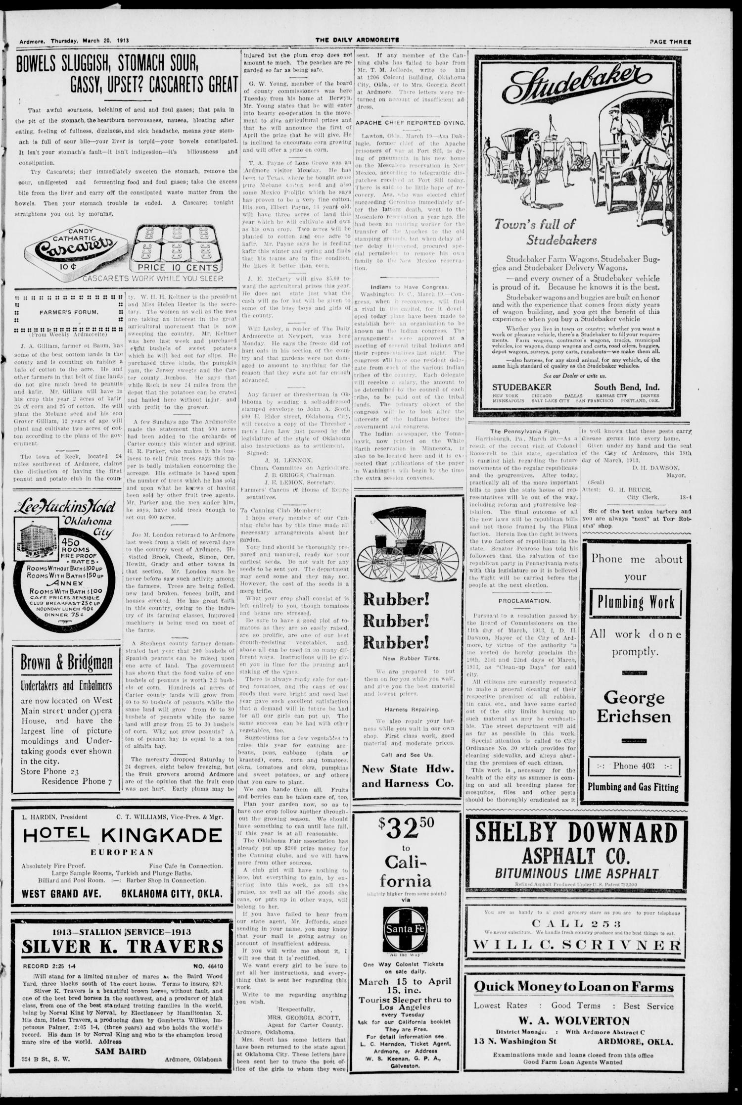 The Daily Ardmoreite. (Ardmore, Okla.), Vol. 19, No. 140, Ed. 1 Thursday, March 20, 1913                                                                                                      [Sequence #]: 3 of 8