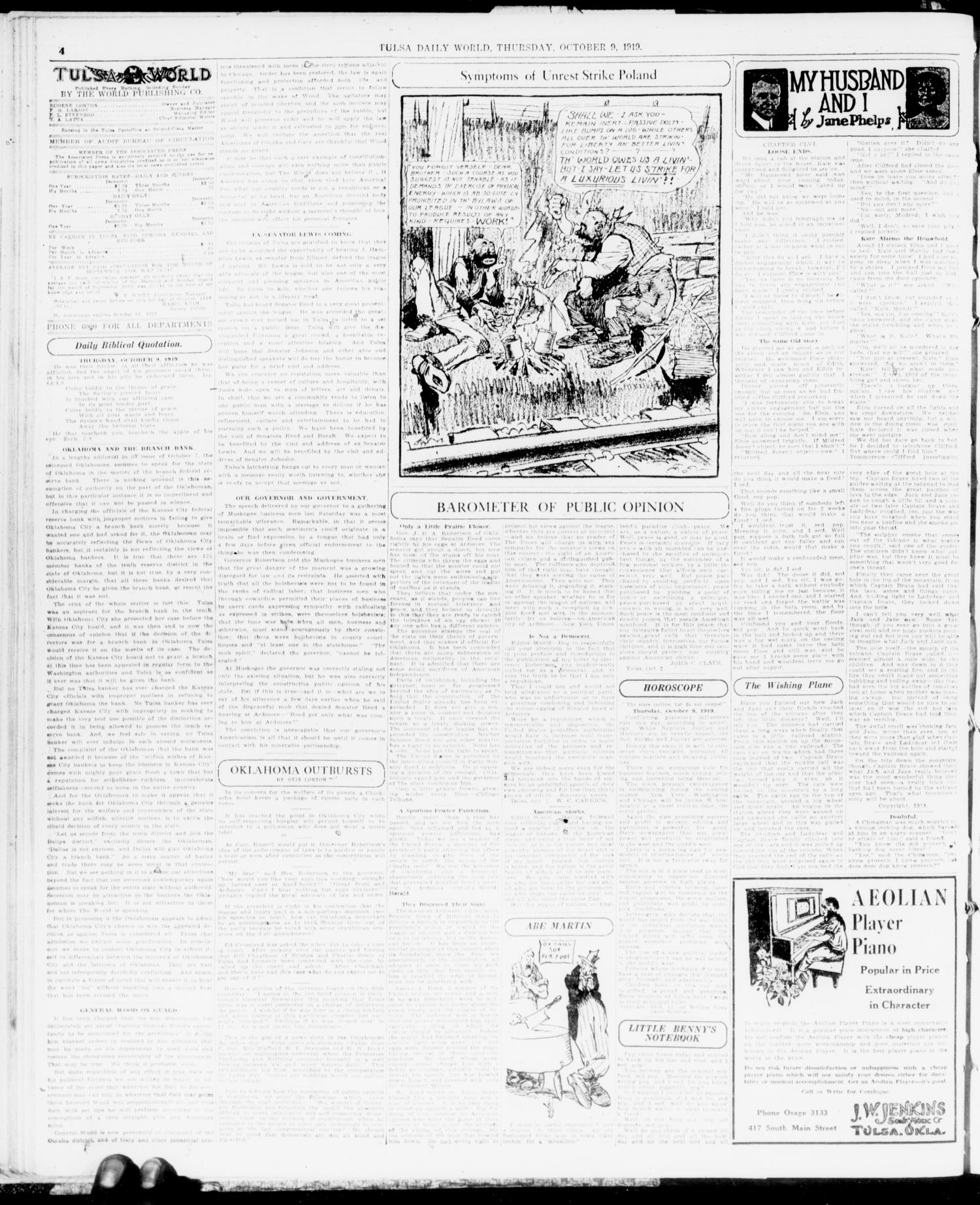 The Morning Tulsa Daily World (Tulsa, Okla.), Vol. 14, No. 12, Ed. 1 Thursday, October 9, 1919                                                                                                      [Sequence #]: 4 of 20