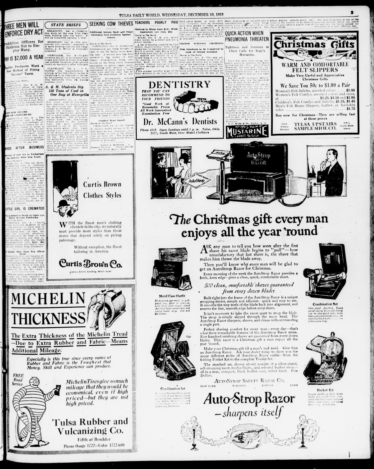 The Morning Tulsa Daily World (Tulsa, Okla.), Vol. 14, No. 73, Ed. 1 Wednesday, December 10, 1919                                                                                                      [Sequence #]: 3 of 16