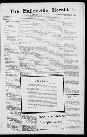 Primary view of object titled 'The Haileyville Herald. (Haileyville, Okla.), Vol. 1, No. 43, Ed. 1 Thursday, January 29, 1920'.
