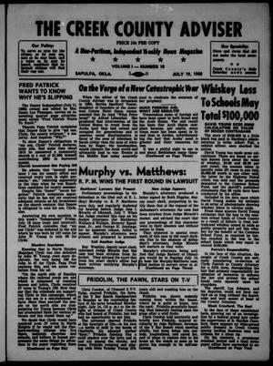 Primary view of The Creek County Adviser (Sapulpa, Okla.), Vol. 1, No. 10, Ed. 1 Saturday, July 19, 1958