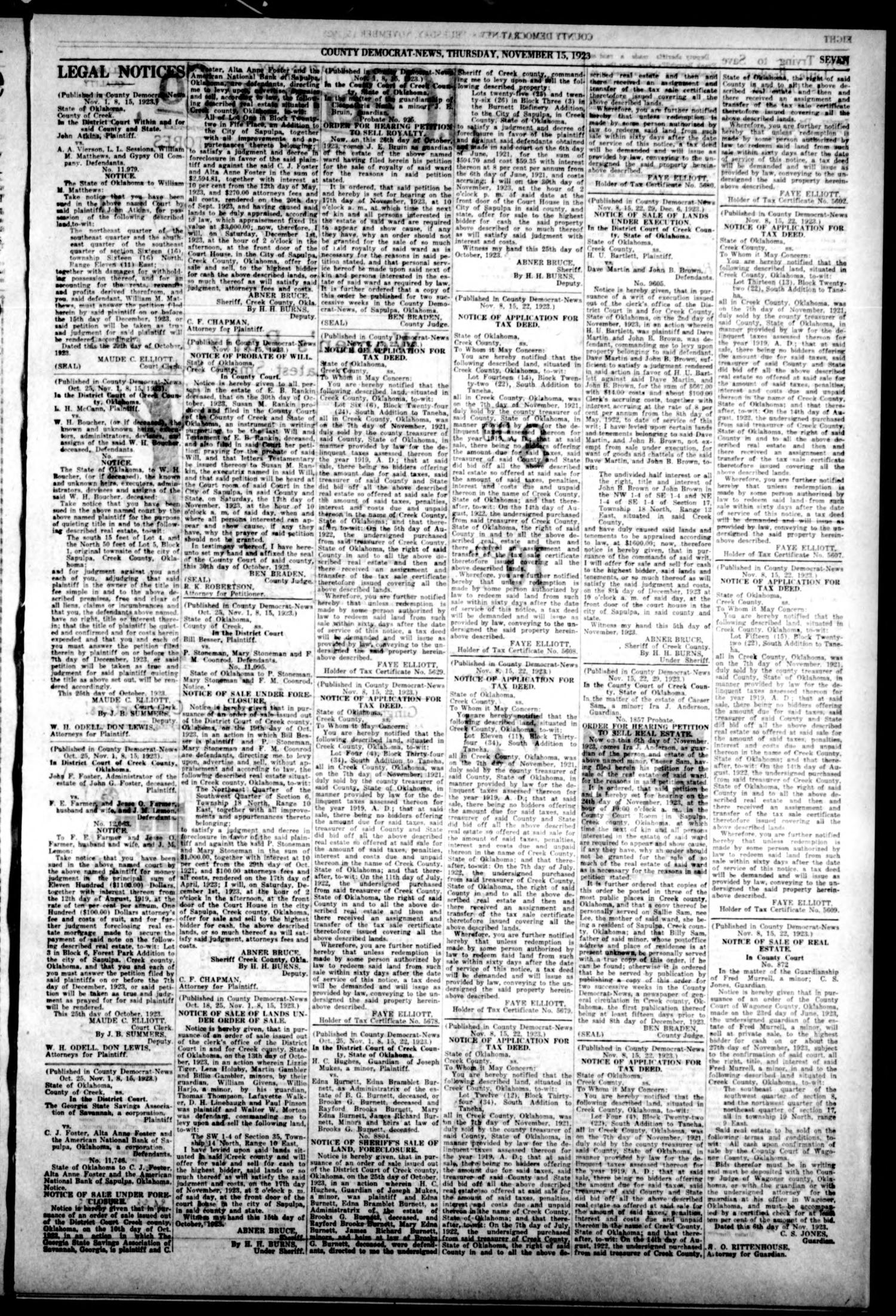 County Democrat-News (Sapulpa, Okla.), Vol. 14, No. 8, Ed. 1 Thursday, November 15, 1923                                                                                                      [Sequence #]: 7 of 8