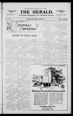 Primary view of object titled 'The Herald. (Haileyville, Okla.), Vol. 2, No. 37, Ed. 1 Thursday, December 16, 1920'.