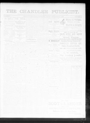 Primary view of object titled 'The Chandler Publicist. (Chandler, Okla. Terr.), Vol. 1, No. 22, Ed. 1 Friday, September 21, 1894'.