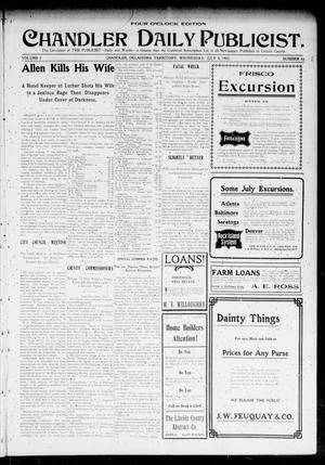 Primary view of object titled 'Chandler Daily Publicist. (Chandler, Okla. Terr.), Vol. 2, No. 84, Ed. 1 Wednesday, July 8, 1903'.
