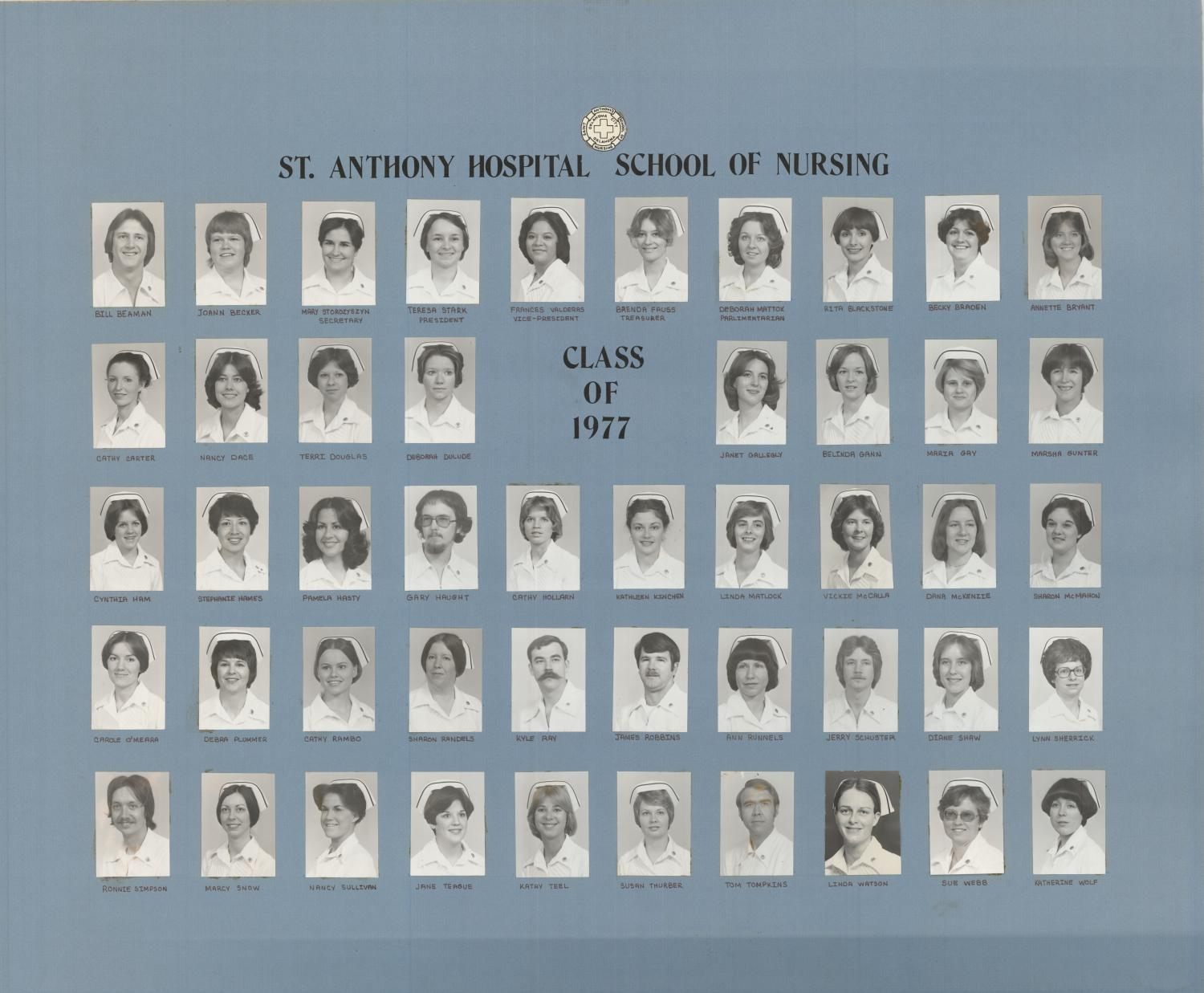 St. Anthony School of Nursing Class of 1977                                                                                                      [Sequence #]: 1 of 1