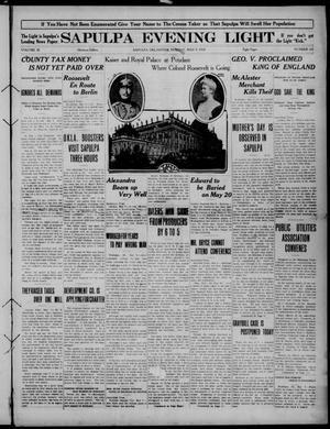 Primary view of Sapulpa Evening Light (Sapulpa, Okla.), Vol. 3, No. 164, Ed. 1 Monday, May 9, 1910