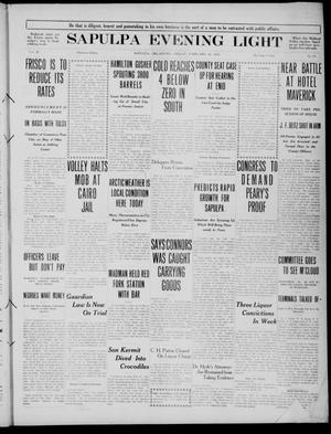 Primary view of Sapulpa Evening Light (Sapulpa, Okla.), Vol. 3, No. 95, Ed. 1 Friday, February 18, 1910