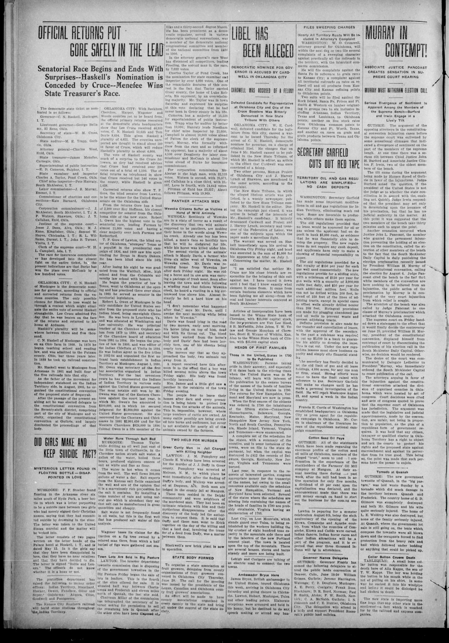 The Sapulpa Light. (Sapulpa, Indian Terr.), Vol. 11, No. 18, Ed. 1 Friday, June 21, 1907                                                                                                      [Sequence #]: 2 of 8