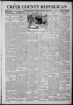 Primary view of object titled 'Creek County Republican (Sapulpa, Okla.), Vol. 12, No. 12, Ed. 1 Friday, September 20, 1918'.