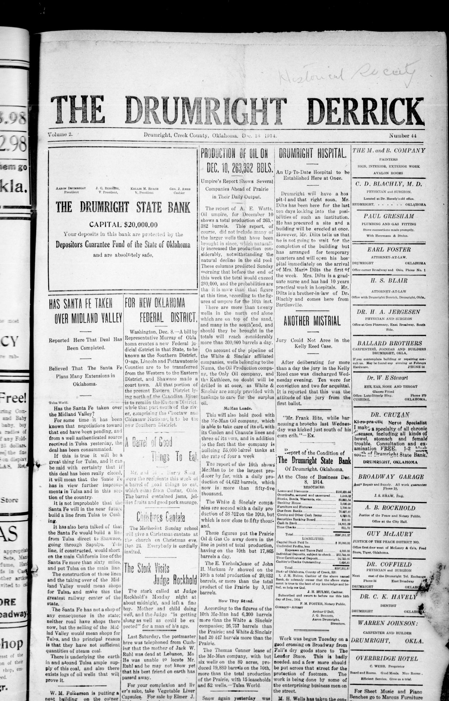 The Drumright Derrick (Drumright, Okla.), Vol. 2, No. 44, Ed. 1 Friday, December 18, 1914                                                                                                      [Sequence #]: 1 of 10