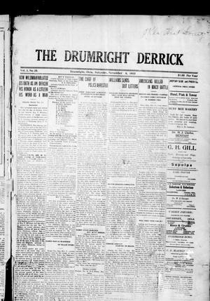 Primary view of object titled 'The Drumright Derrick (Drumright, Okla.), Vol. 3, No. 35, Ed. 1 Saturday, November 6, 1915'.