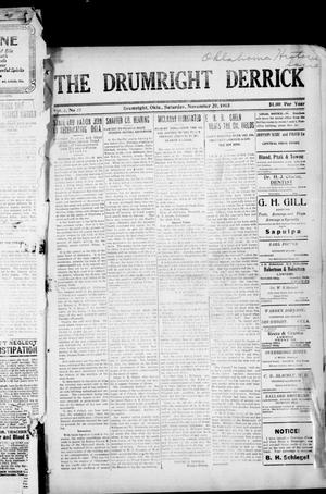 Primary view of object titled 'The Drumright Derrick (Drumright, Okla.), Vol. 3, No. 37, Ed. 1 Saturday, November 20, 1915'.
