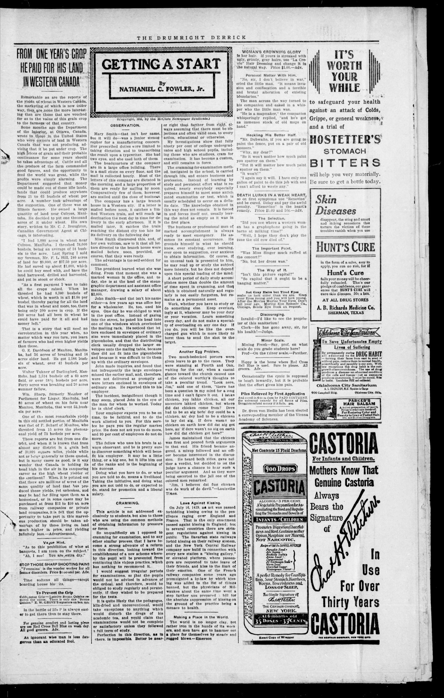 The Drumright Derrick (Drumright, Okla.), Vol. 3, No. 43, Ed. 1 Saturday, January 1, 1916                                                                                                      [Sequence #]: 3 of 8