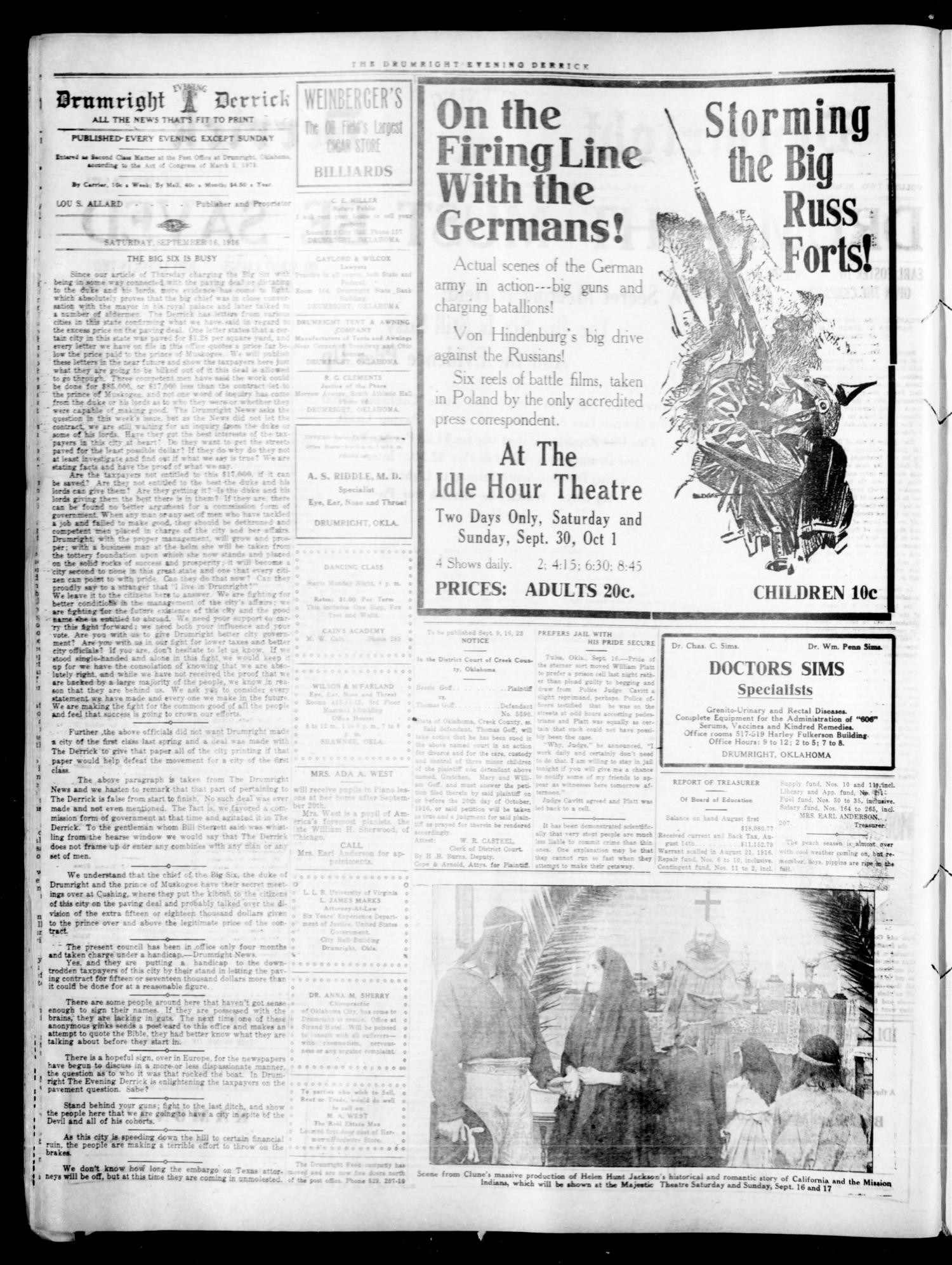 Drumright Evening Derrick (Drumright, Okla.), Vol. 2, No. 211, Ed. 1 Saturday, September 16, 1916                                                                                                      [Sequence #]: 2 of 4