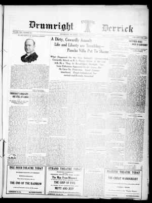 Primary view of Drumright Evening Derrick (Drumright, Okla.), Vol. 2, No. 253, Ed. 1 Monday, November 6, 1916
