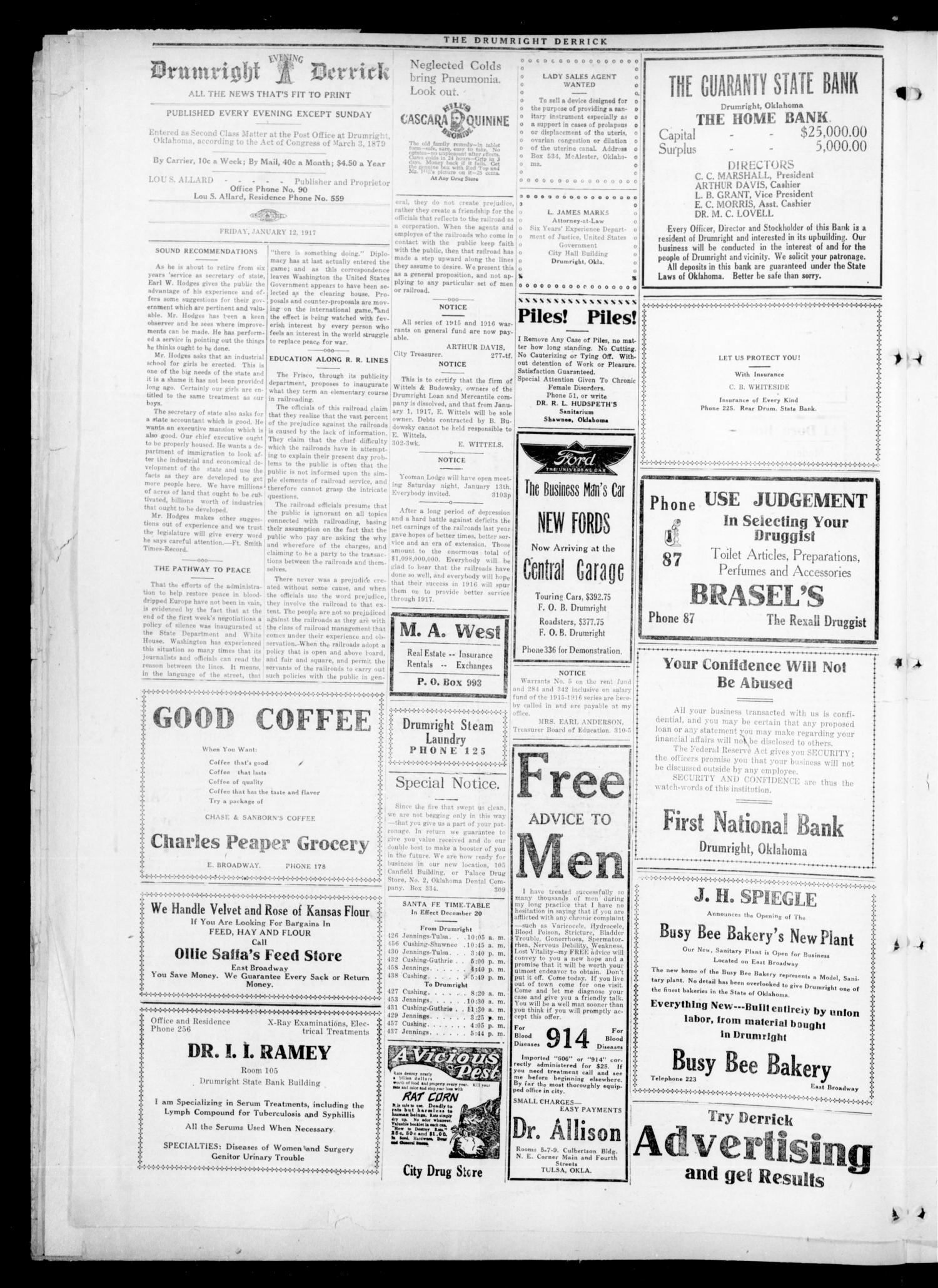 Drumright Evening Derrick (Drumright, Okla.), Vol. 2, No. 312, Ed. 1 Friday, January 12, 1917                                                                                                      [Sequence #]: 2 of 4