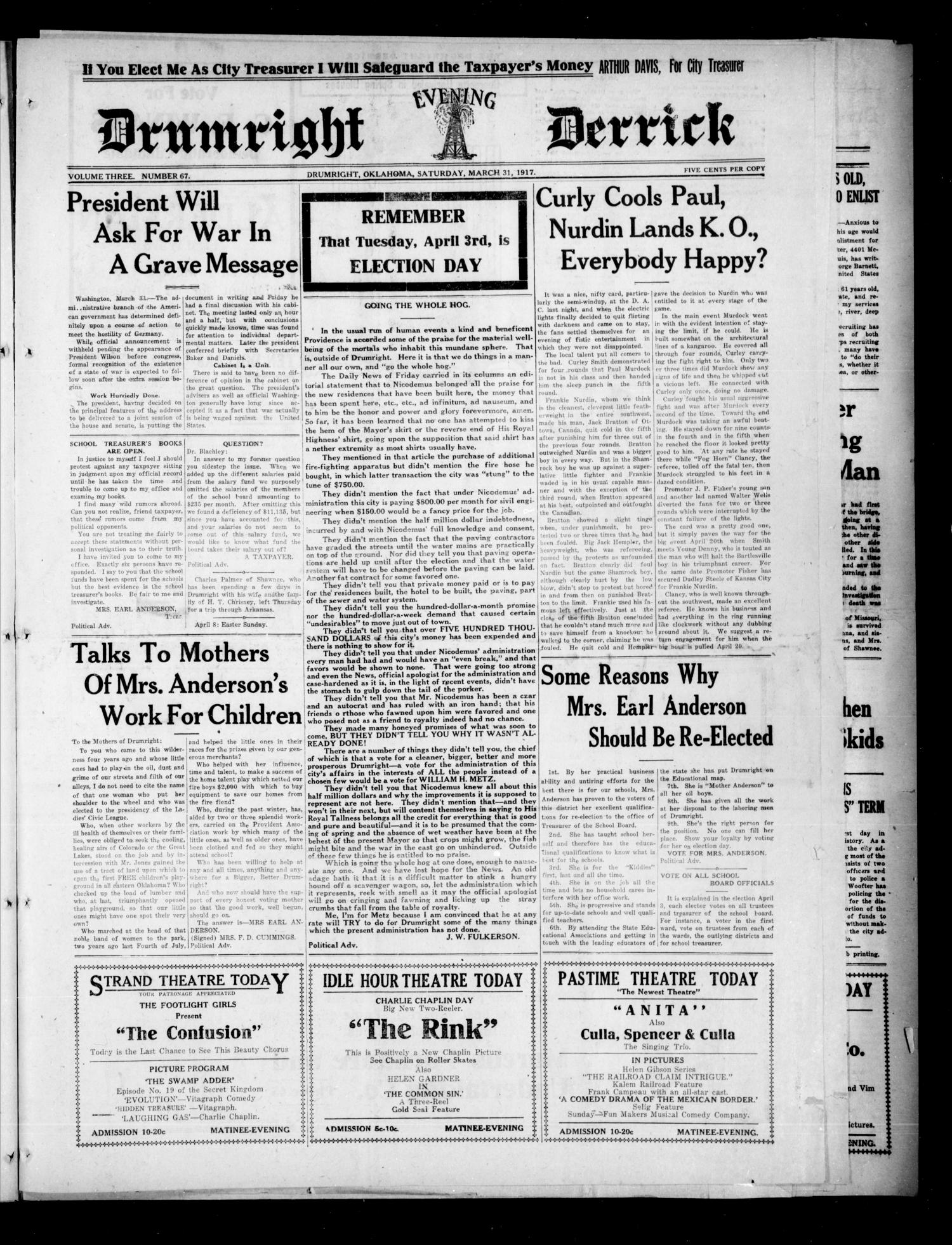 Drumright Evening Derrick (Drumright, Okla.), Vol. 3, No. 67, Ed. 1 Saturday, March 31, 1917                                                                                                      [Sequence #]: 1 of 8