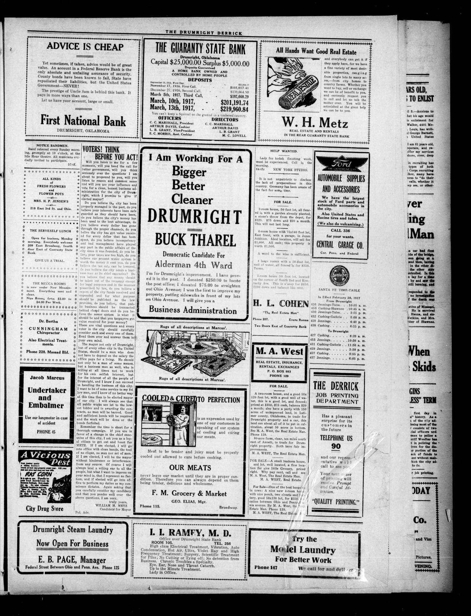 Drumright Evening Derrick (Drumright, Okla.), Vol. 3, No. 67, Ed. 1 Saturday, March 31, 1917                                                                                                      [Sequence #]: 3 of 8