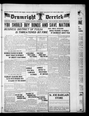 Primary view of object titled 'Drumright Evening Derrick (Drumright, Okla.), Vol. 3, No. 341, Ed. 1 Wednesday, October 24, 1917'.