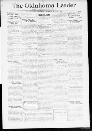 Primary view of object titled 'The Oklahoma Leader (Oklahoma City, Okla.), Vol. 5, No. 7, Ed. 1 Thursday, August 8, 1918'.