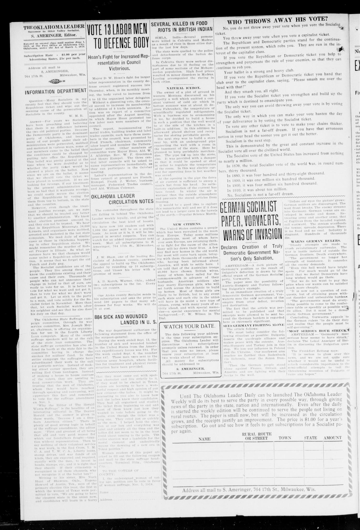 The Oklahoma Leader (Oklahoma City, Okla.), Vol. 5, No. 15, Ed. 1 Thursday, October 3, 1918                                                                                                      [Sequence #]: 4 of 4