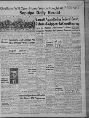 Primary view of Sapulpa Daily Herald (Sapulpa, Okla.), Vol. 48, No. 13, Ed. 1 Friday, September 28, 1962